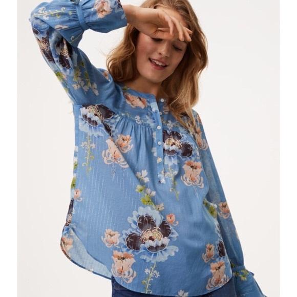 c900851cf4f3d Anne Taylor loft blue floral blouse tie sleeve